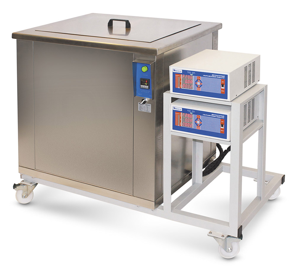 VILITEK VBS-240 PRO industrial ultrasonic bath 240 litres with two-frequency generators and frame on wheel supports